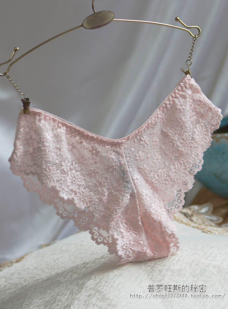 法国意大利浅粉色性感蕾丝超薄舒适透气透明透视低腰女士三角内裤