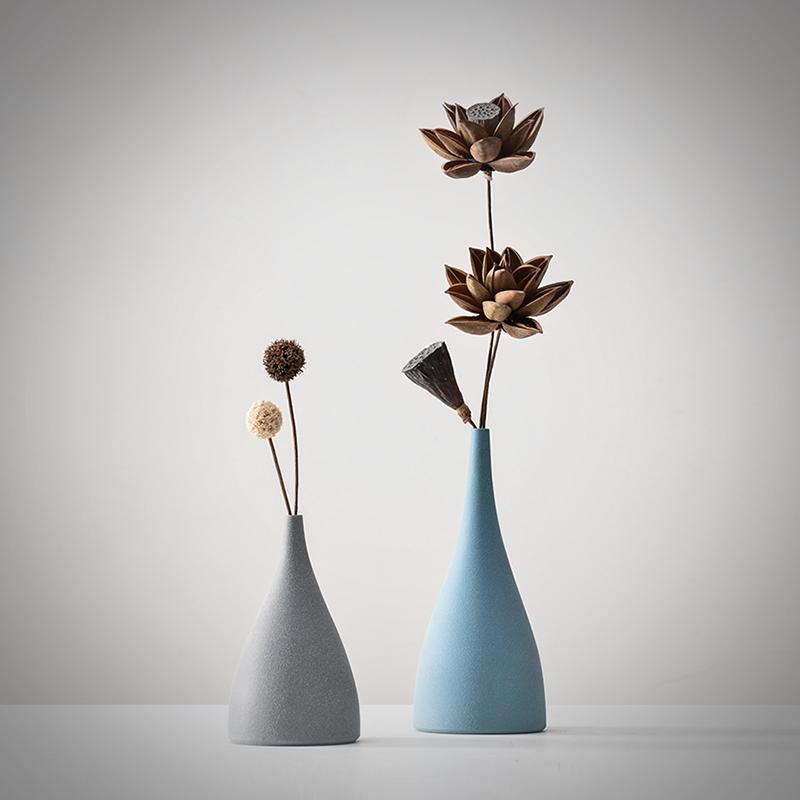 禅意日式陶瓷小花瓶创意北欧家居客厅电视柜插花酒柜装饰品摆件