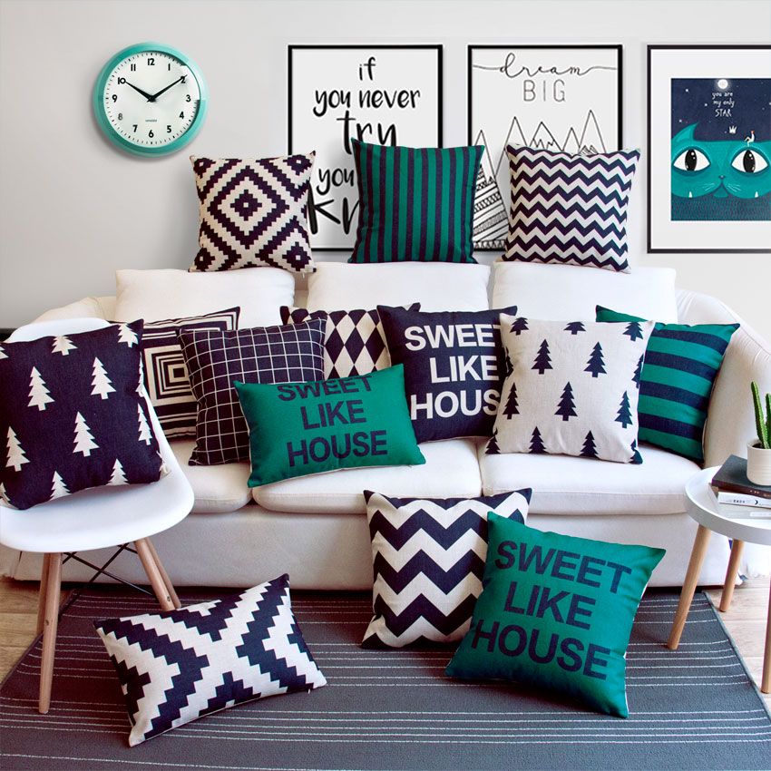 沙发设计原创靠垫黑白北欧简约靠枕组合几何现代条纹家风