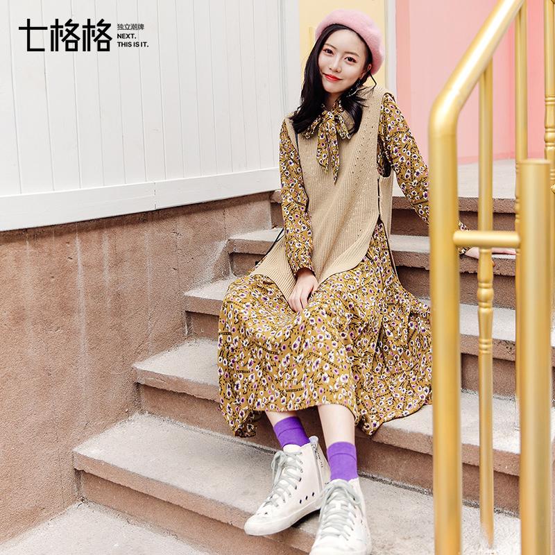 针织马甲连衣裙两件套装女2017秋冬装季新款chic时尚长袖中长裙子