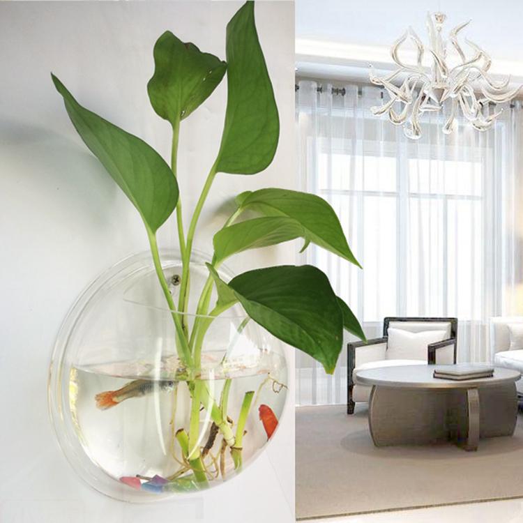 壁挂式家居饰品亚克力客厅酒店办公装饰花瓶水培花器墙面绿萝花盆