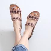 女平底民族风软木拖鞋 夹趾沙滩鞋 花朵夹脚凉鞋 日系森女文艺夏新款