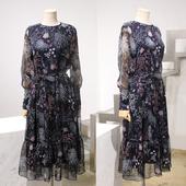 腰带连衣裙 韩国原单品质超美雪纺印花飘逸长款