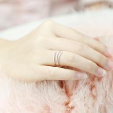 日韩时尚气质开口戒三线交叉镶钻戒指女戒简约指环中指戒百搭款
