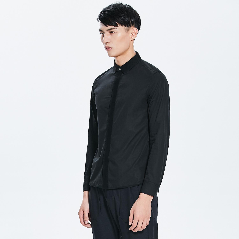 速写男装秋冬时尚简洁版型小方领男士休闲易搭长袖衬衫9481202