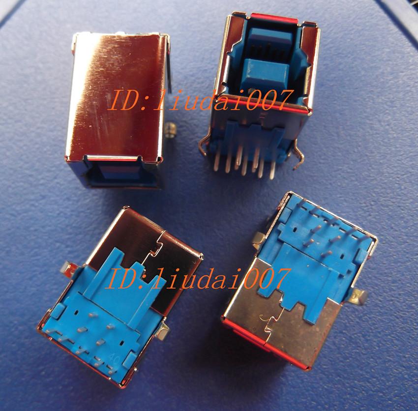蓝B型母座 3.0 USB母插座 打印机接口 弯脚90度 方型口 卧式