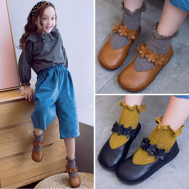 韩版女童豆豆鞋 2017春秋鞋新款单鞋 儿童奶奶鞋皮鞋小女孩公主鞋