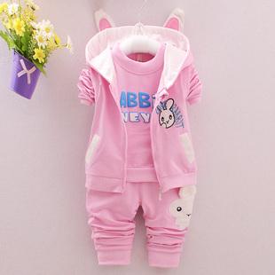 新款婴幼儿童装女宝宝春装女童春秋长袖运动三件套装0-1-2-3-4岁