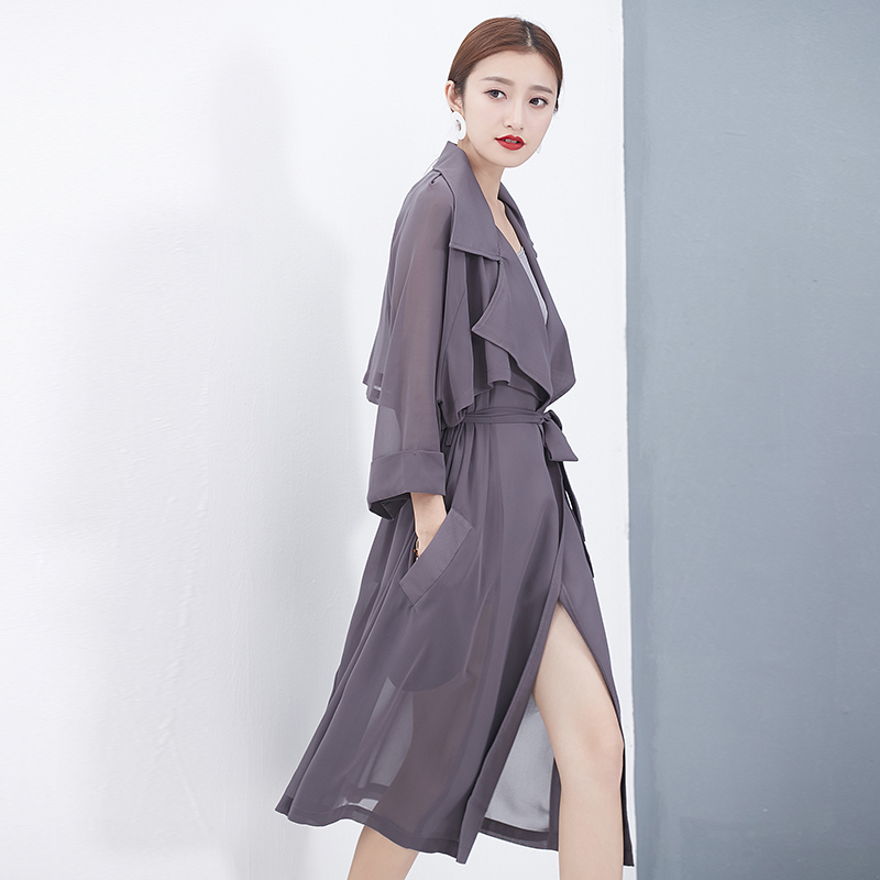 風衣系帶女薄款開衫防曬翻領韓版雪紡女士長款外套