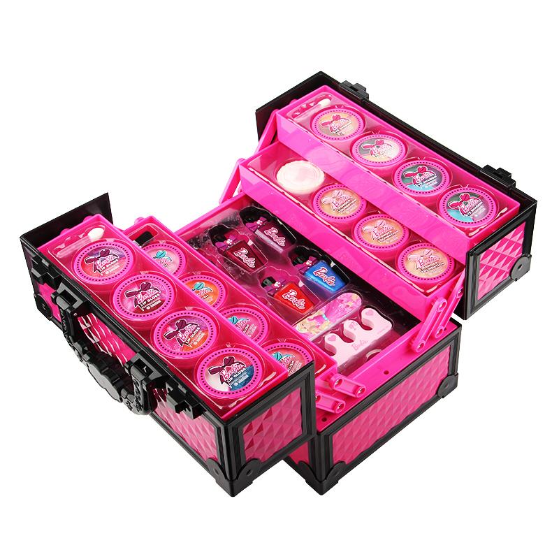 芭比公主儿童化妆品彩妆盒女孩玩具手提箱儿童
