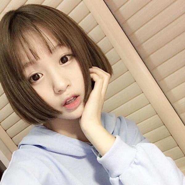沙宣头假发女生短发空气刘海bobo头波波头夏假头发黑色棕色学生头图片