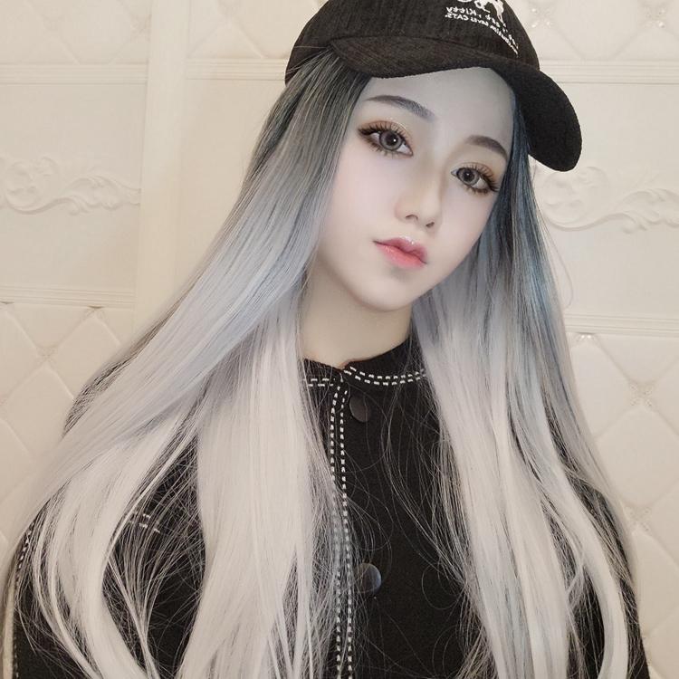 原宿黑色渐变银灰色假发 二次元动漫cosplay发型 挑染中分长直发图片
