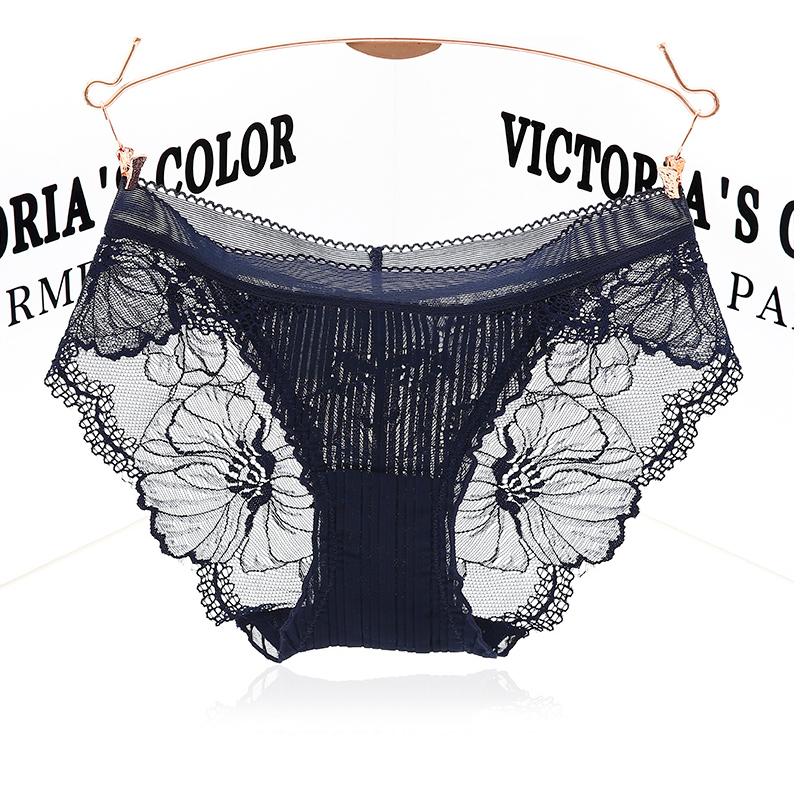 透气内裤简约蕾丝女士透明黑色性感三角低腰