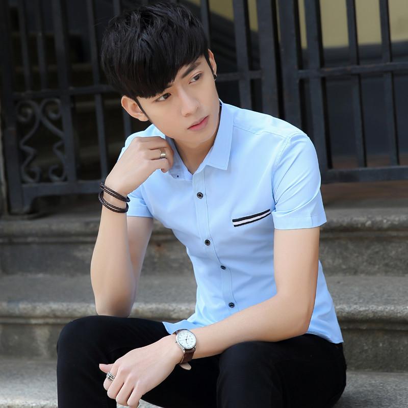 休闲短袖夏季男装衬衫商务衬衣修身男士