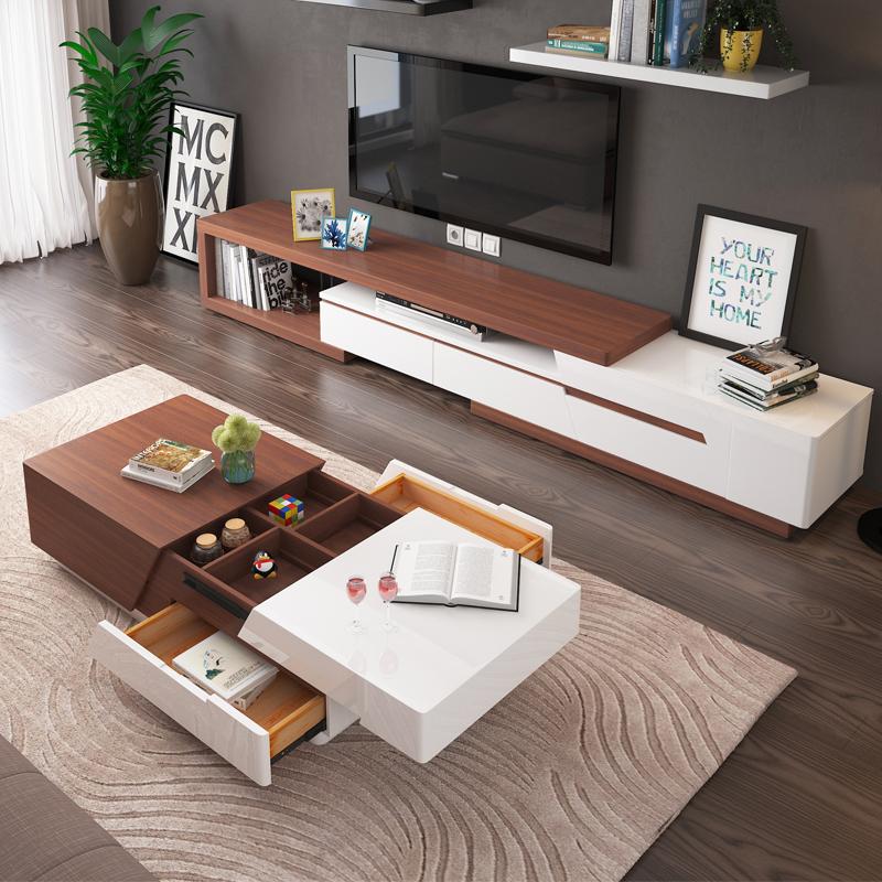 现代简约多功能储物胡桃木茶几电视柜组合北欧创意小