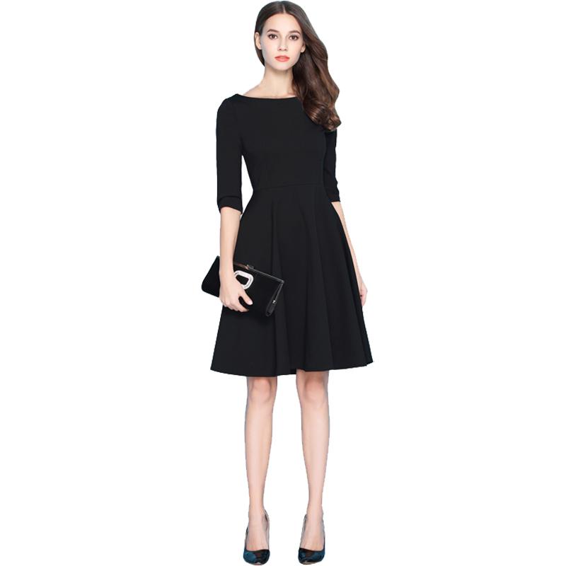 一字肩中长小黑裙2017女新款黑色秋冬内搭连衣裙赫本红裙显瘦礼服