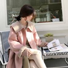 大喜自制2017新款百搭甜美单排扣纯色双面呢大衣宽松毛呢外套女冬