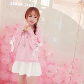 苛苛绮2017秋季新款韩版甜美学生软妹假两件卫衣连衣裙 粉色可爱