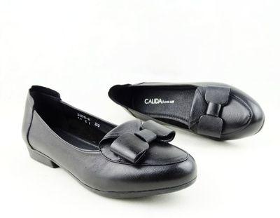 2016春季新款正品卡莉丹真皮单鞋 舒适防滑工作鞋平底女鞋蝴蝶结