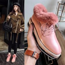 韩版秋冬季真皮方头厚底坡跟松糕系带单鞋毛毛鞋加绒百搭英伦女鞋