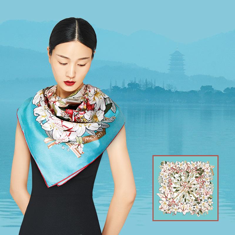 国礼丝绸丝巾礼品方巾围巾女披肩两用 20 万事利围巾夫人礼丝瓷套装
