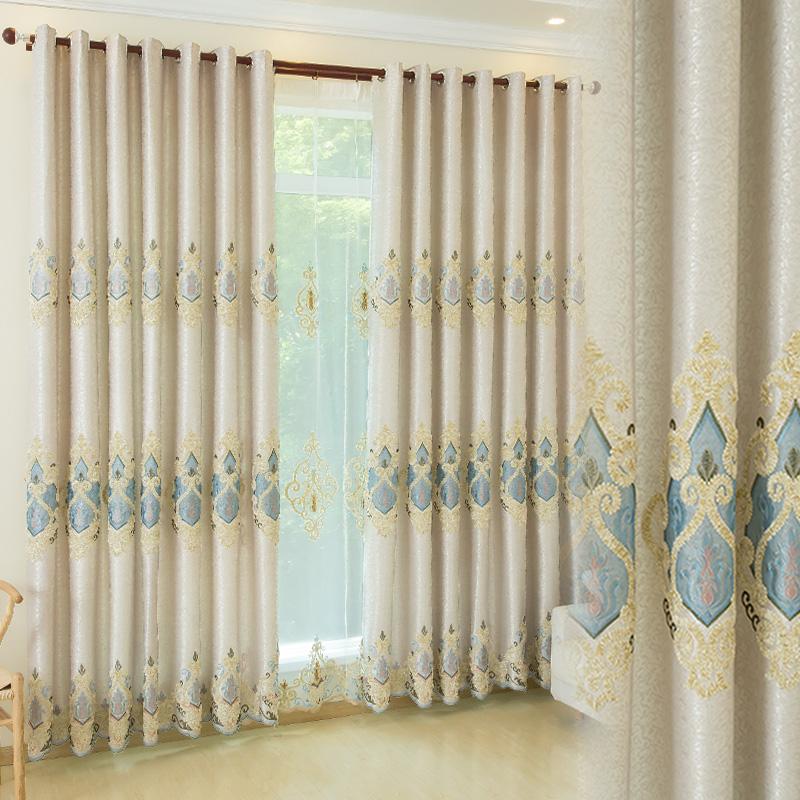 牵牵情刺绣提花高档欧式窗帘布成品遮光定制卧室客厅落地窗绣花纱