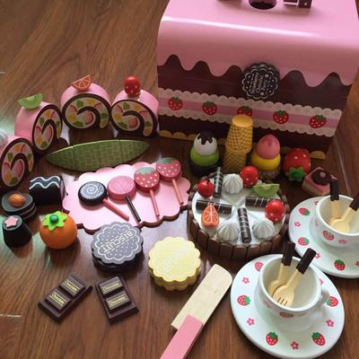 切切乐巧克力生日蛋糕下午茶 儿童过家家厨房磁性切切看木质玩具