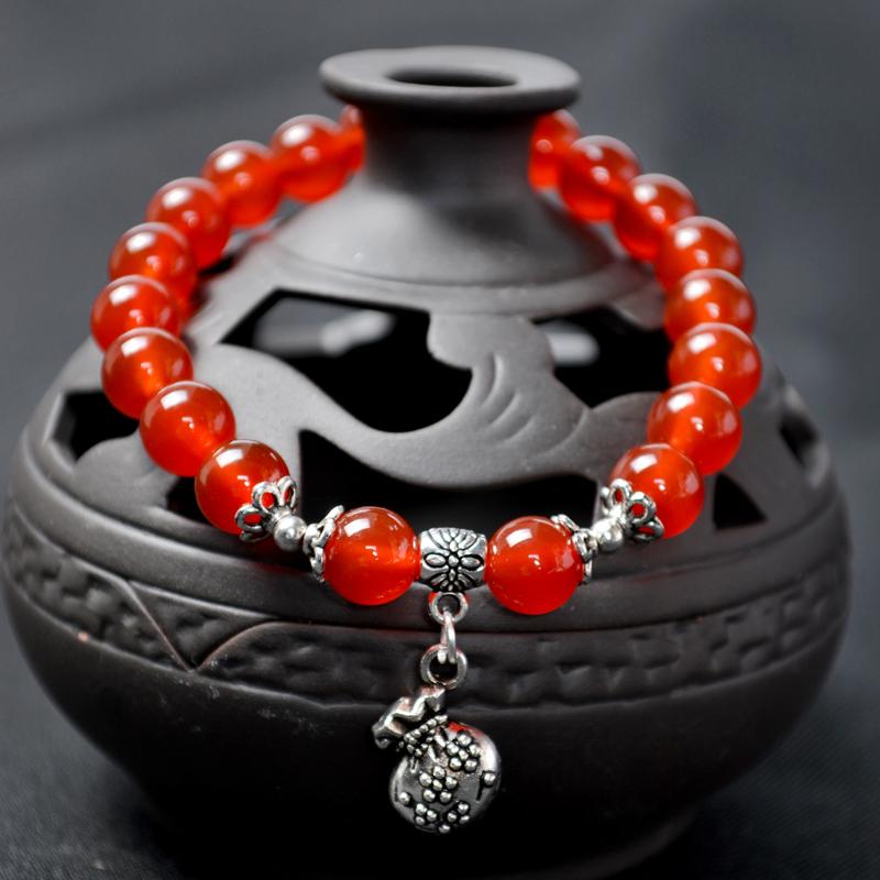 手鏈天然瑪瑙 配藏銀單圈紅福袋手串佛珠水晶 轉運禮物本命年
