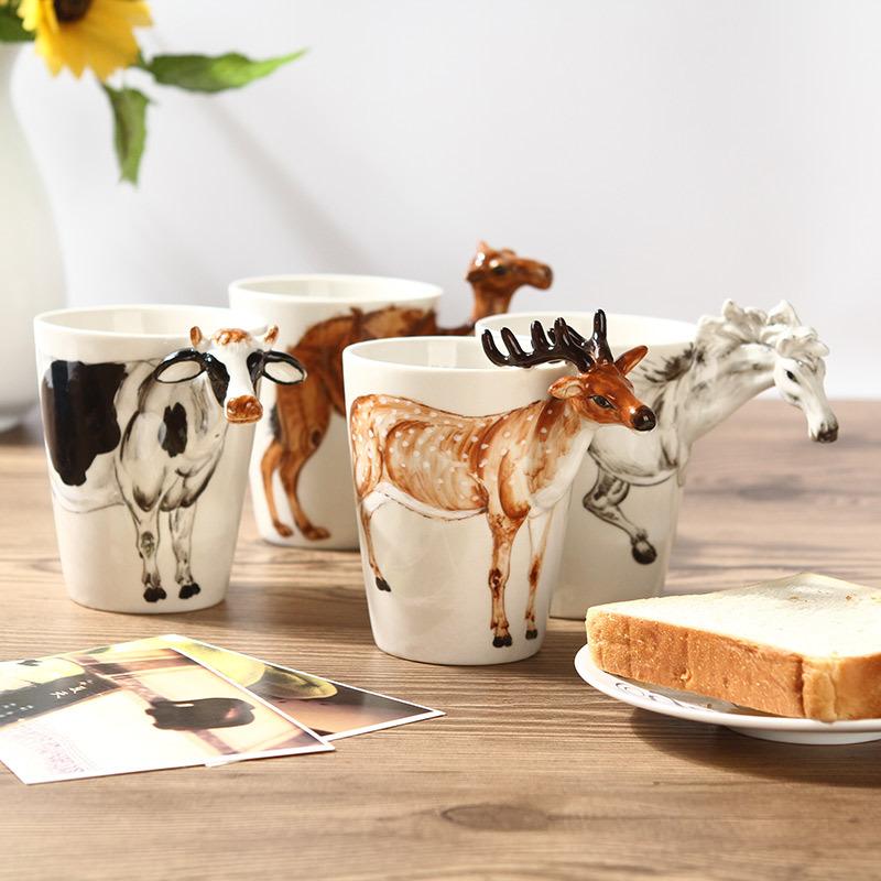 3d立体水杯创意动物杯子陶瓷手绘马克杯个性办公室杯