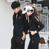 春秋季男运动套装情侣跑步运动衣服装长袖女式休闲卫衣青年两件套