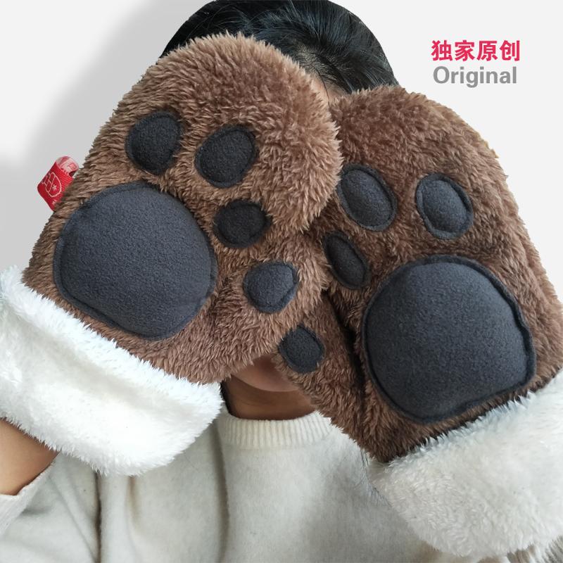 冬季女款手套加厚加长毛绒可爱熊掌爪子原创手工剪裁暖心情人礼物