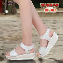 坡跟休闲大码 夏季真皮中跟女鞋 平底柏咨松糕凉鞋 厚底摇摇鞋 特价