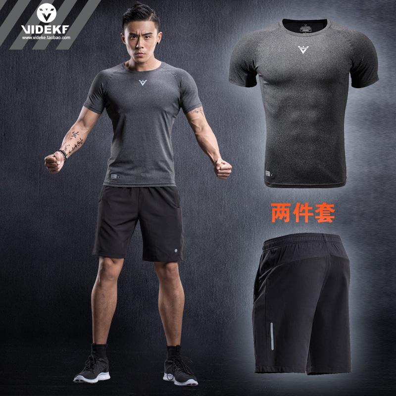 運動套裝短褲健身圓領修身短袖男士跑步維特客夏季
