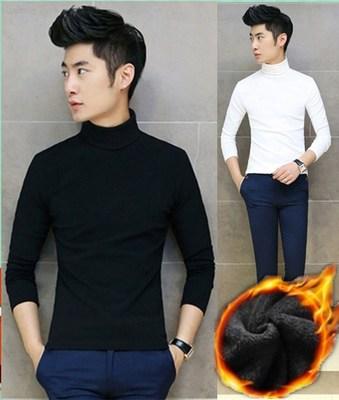 男装修身长袖T恤男圆领绒衣加绒加厚打底衫潮流男士冬季保暖小衫