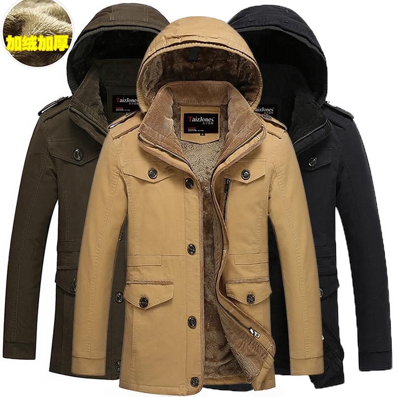 秋冬装外套男夹克加绒加厚中长款棉衣青年加大码保暖风衣棉袄大衣