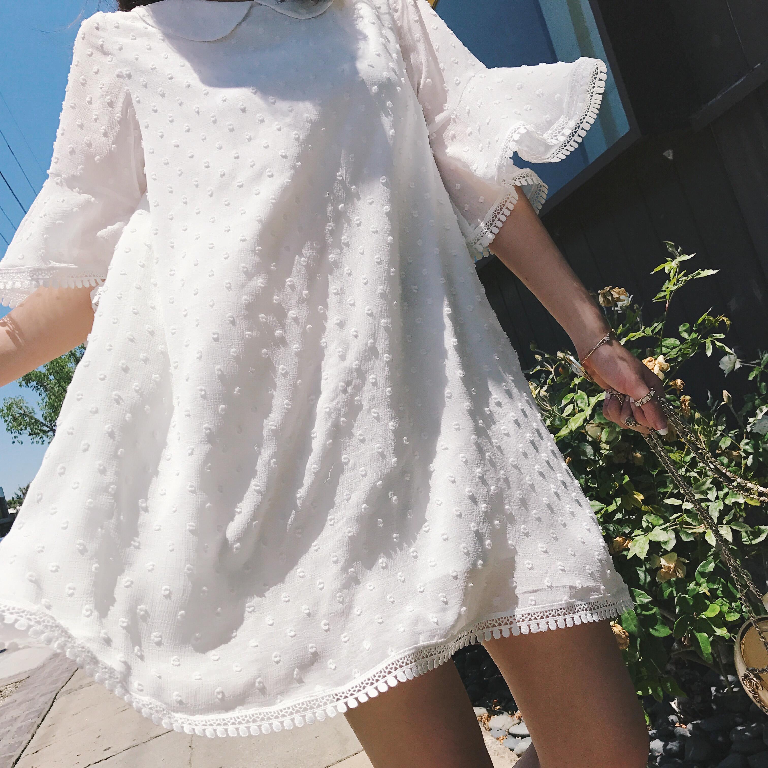 钱夫人CHINSTUDIO 喇叭袖蕾丝拼接白色连衣裙女夏气质娃娃领A字裙