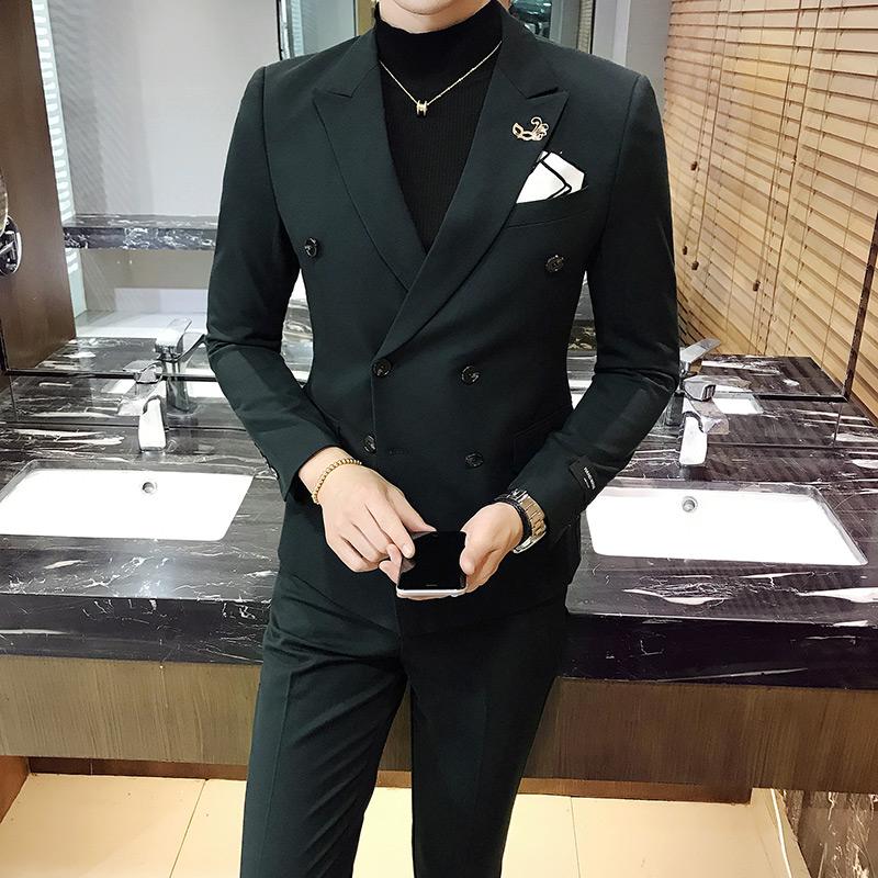 男士免烫时尚商务职业正装西装套装韩版双排扣修身型西服两件套男