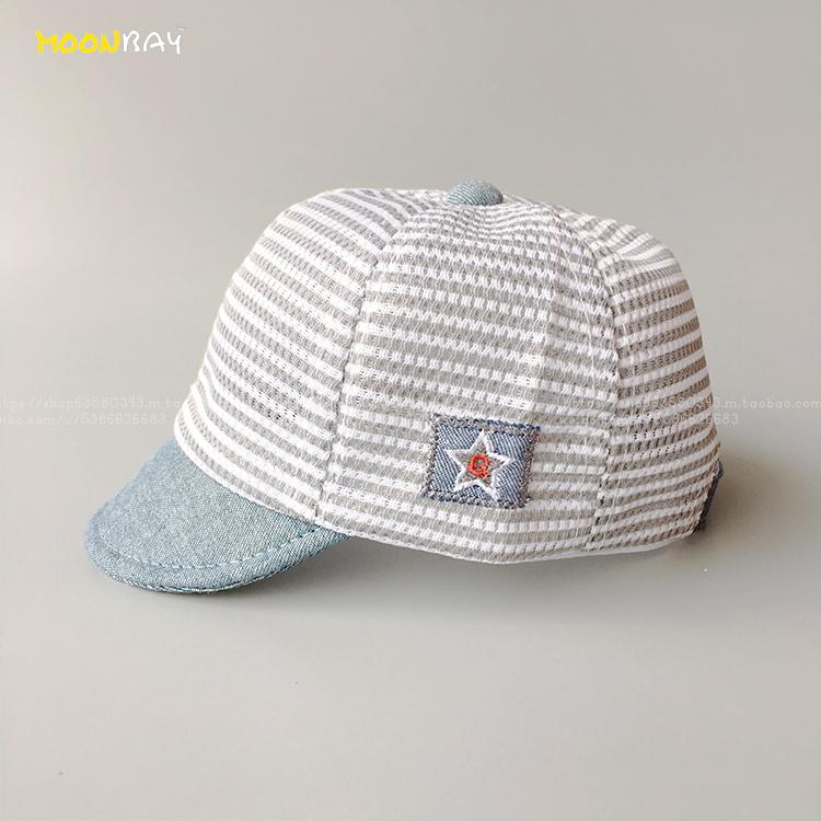 鸭舌帽幼童宝宝遮阳帽男女条纹帽子软沿帽网眼透气婴儿