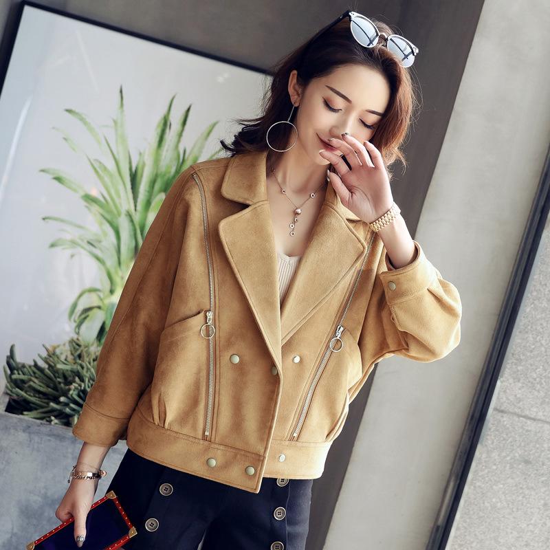 女装2017秋新款韩版宽松短款bf上衣麂皮绒夹克衫翻领蝙蝠袖外套女