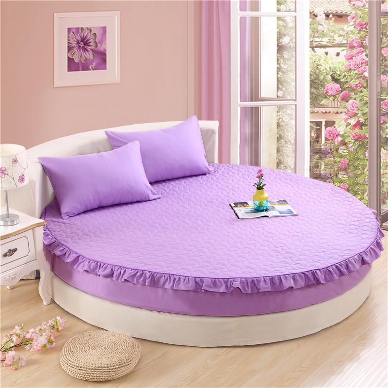 订做全棉圆床夹棉加厚床笠单件纯棉圆形床单四件套被套床罩保护套