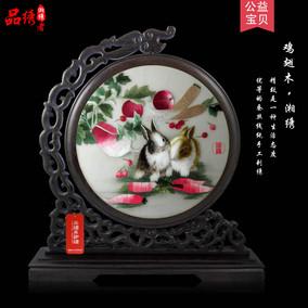 湘绣精品十二生肖狗虎猴鸡龙牛羊免 双面绣摆件 礼品 纯手工刺绣