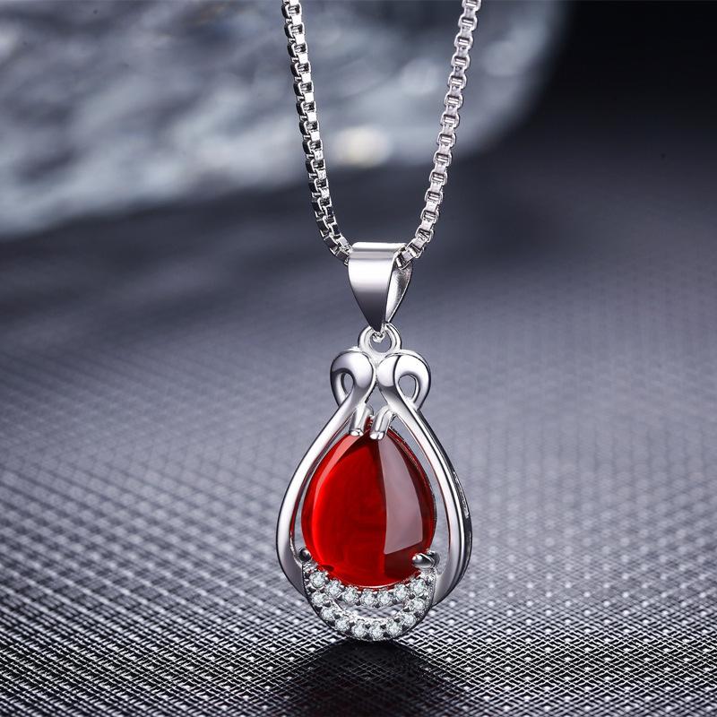 925纯银复古红宝石绿玛瑙项链吊坠耳钉戒指女套装日韩饰品礼物