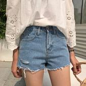 夏大码 牛仔短裤 200斤胖妹妹显瘦学生热裤 胖mm2017新款 高腰韩版