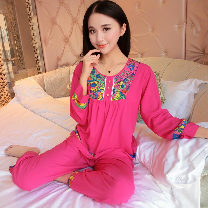 绵绸人造棉睡衣家居服空调套装棉绸可爱服大码夏天长袖