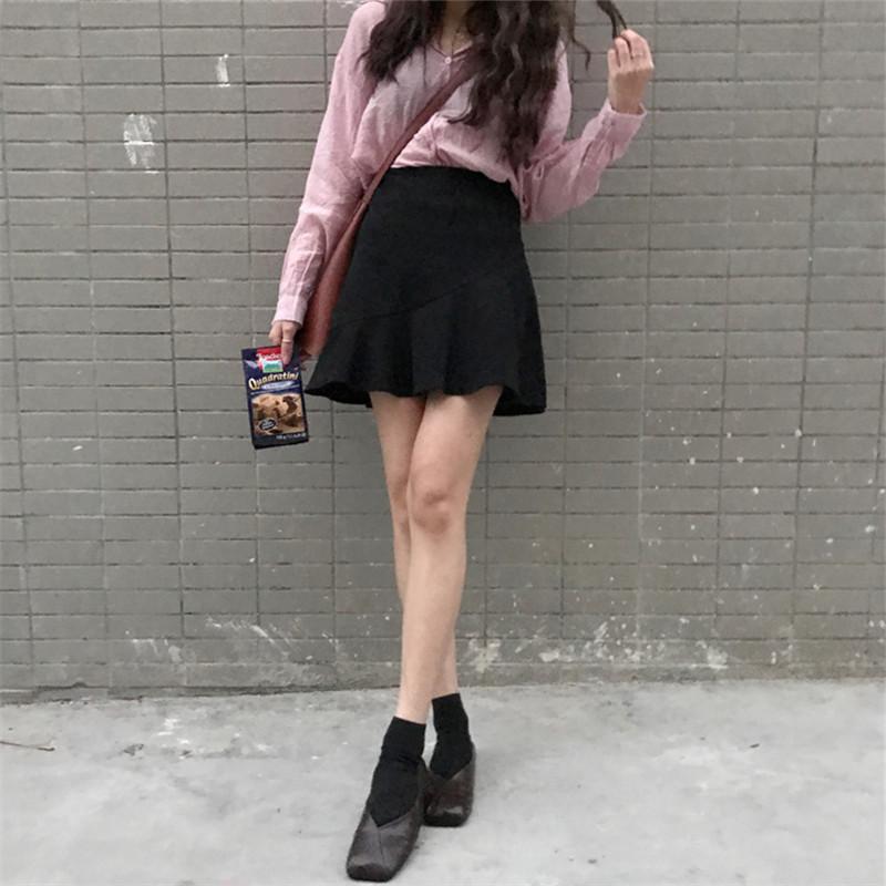 女韩版百搭春季黑色半身短裙高腰包臀裙木耳