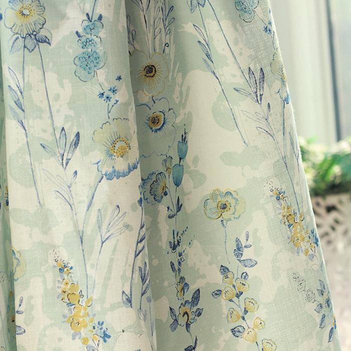 干净天蓝色浅蓝色棉麻客厅卧室北欧抽象温馨植物花草窗帘北京米夫