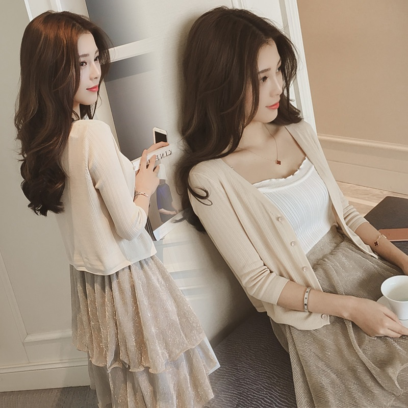 空调外套上衣毛衣开衫针织春夏韩版短款女装