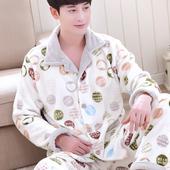 包邮 家居服 开衫 保暖珊瑚绒睡衣套装 长袖 秋冬季加厚法兰绒睡衣男士