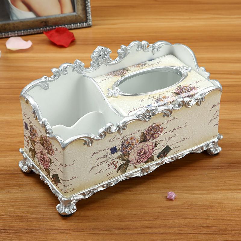 欧式高档创意奢华客厅茶几摆件多功能纸巾盒抽纸盒器