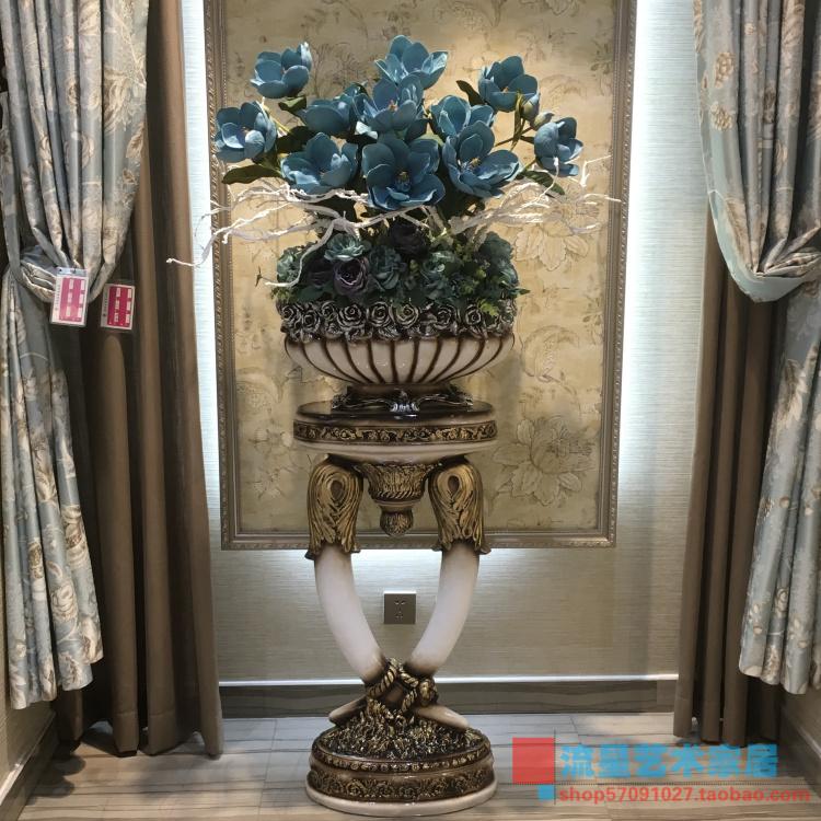 复古罗马柱落地大花瓶仿真插花艺套装客厅会所欧式现代装饰品摆件